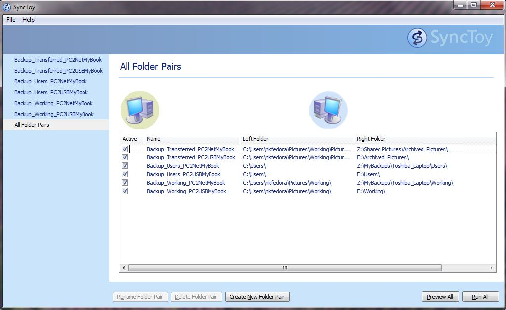 The Microsoft SyncToy software with the folder pairs used