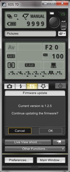 Confirm the Canon EOS Firmware Load
