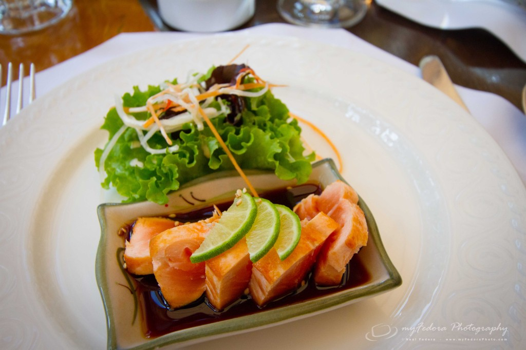 A gorgeous piece of salmon to start our lunch off.