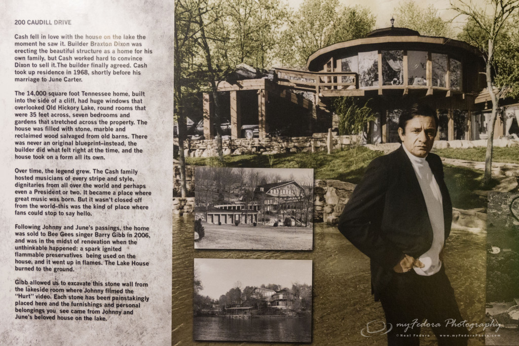 Johnny Cash at the famous lake house on 200 Caudill Drive with stones (not shown) from the Hurt video after it burnt down.