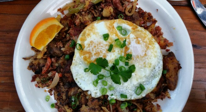 """The """"Corned Beer and Hash"""" Two eggs any style, $12"""